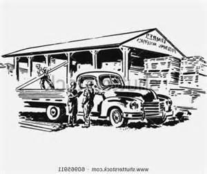 truck at lumber yard