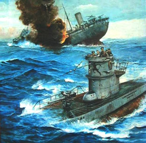 u_boat_sinks_merchant_ship_is_then_chased_by_fleet_destroyer